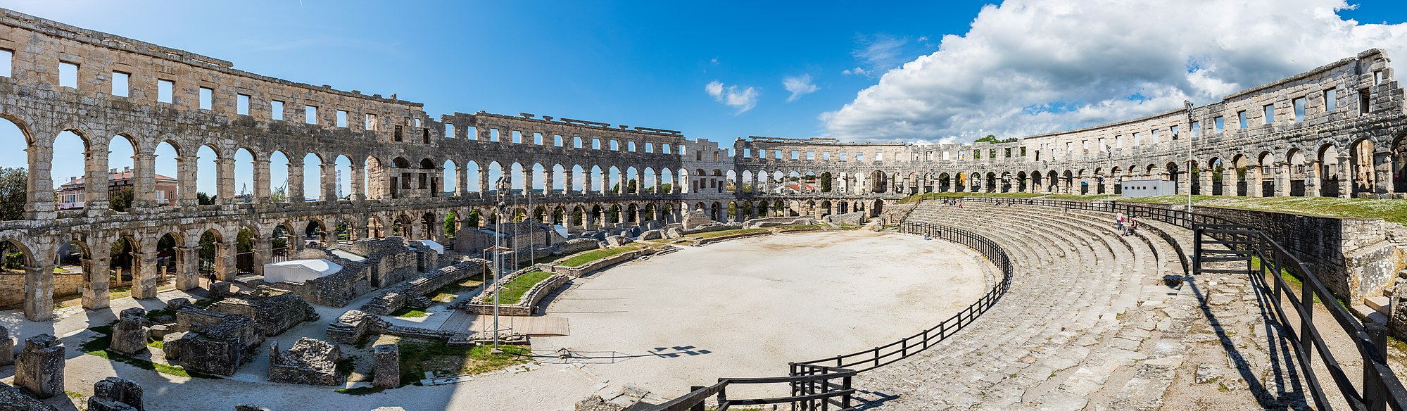 Panoramic view of the interior of the Pula Arena, an amphitheatre located in Pula, Croatia.