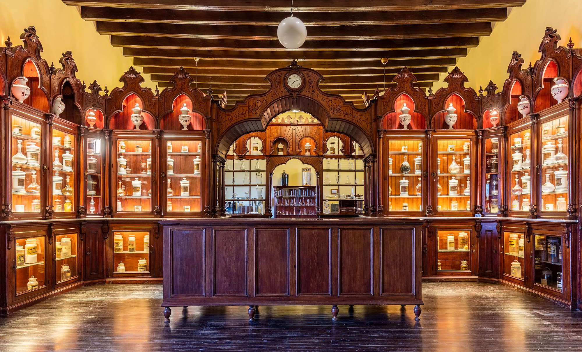 Former municipal pharmacy of Jerez de la Frontera, Andalusia, Spain. The pharmacy dates from 1841 and used to serve to the former Hospital de La Merced. The pharmacy is located in the second floor of the Palace of Villavicencio, which is situated within the Alcazar of Jerez de la Frontera.