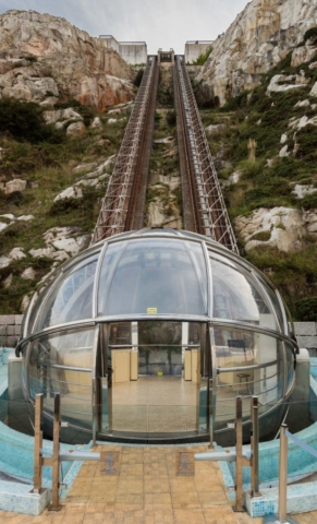 Panoramic lift to St Peter's Hill, La Coruña, Spain. Its track is 100 m long, and climbs 63 m. The lift has operated since 2007.