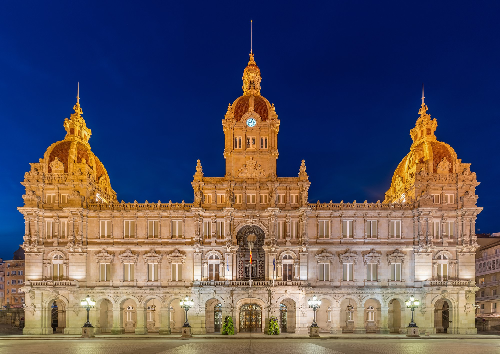 Front view of the city Hall of A Coruña, also called Municipal Palace, during the blue hour, Galicia, Spain.