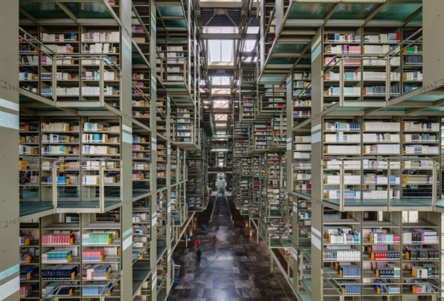 Biblioteca Vasconcelos (Vasconcelos Library) is a library located in the north of Mexico City, Mexico. It was inaugurated in 2006 and by 2015 had 600,000 publications and books, but there are plans to host up to 2 million items. The building, with a surface of aprox. 38,000 square metres (410,000 sq ft), was visited in 2014 by 1.7 million people and can host at the same time 5,000 people.