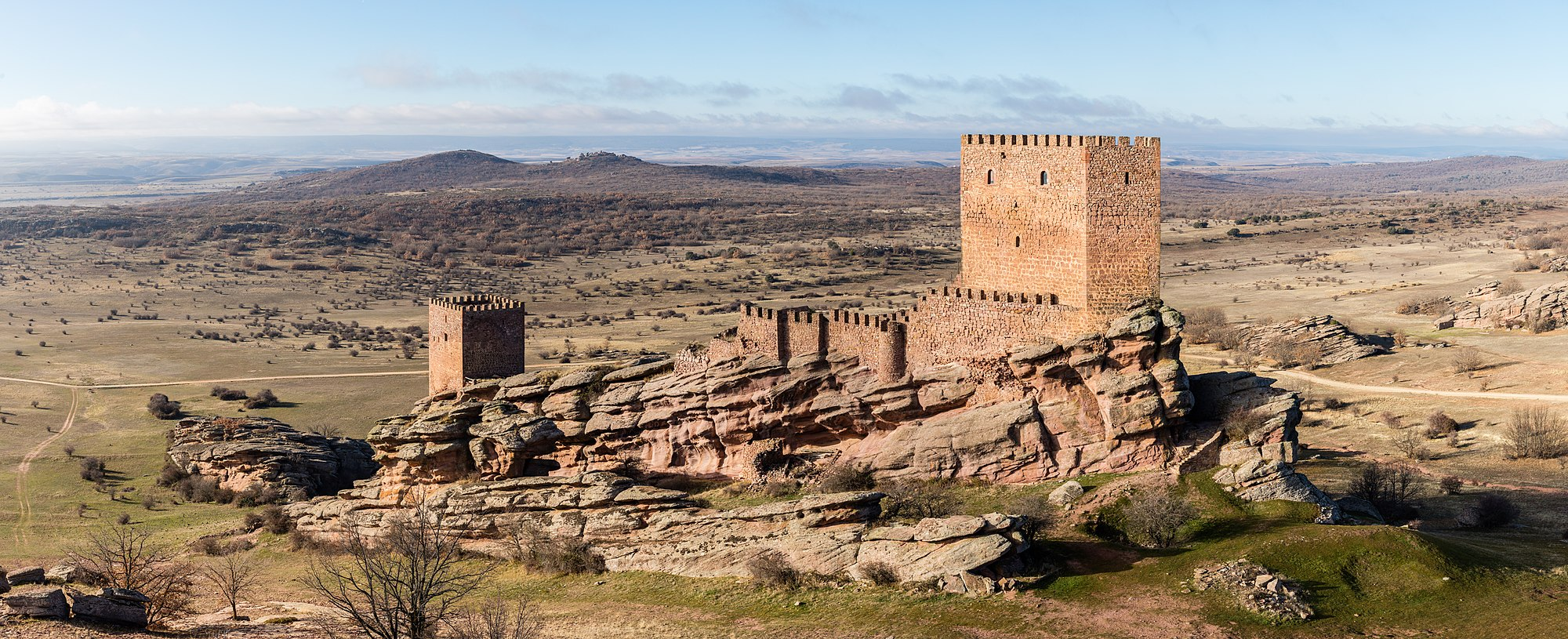 View of the Castle of Zafra, Campillo de Dueñas, province of Guadalajara, Spain.