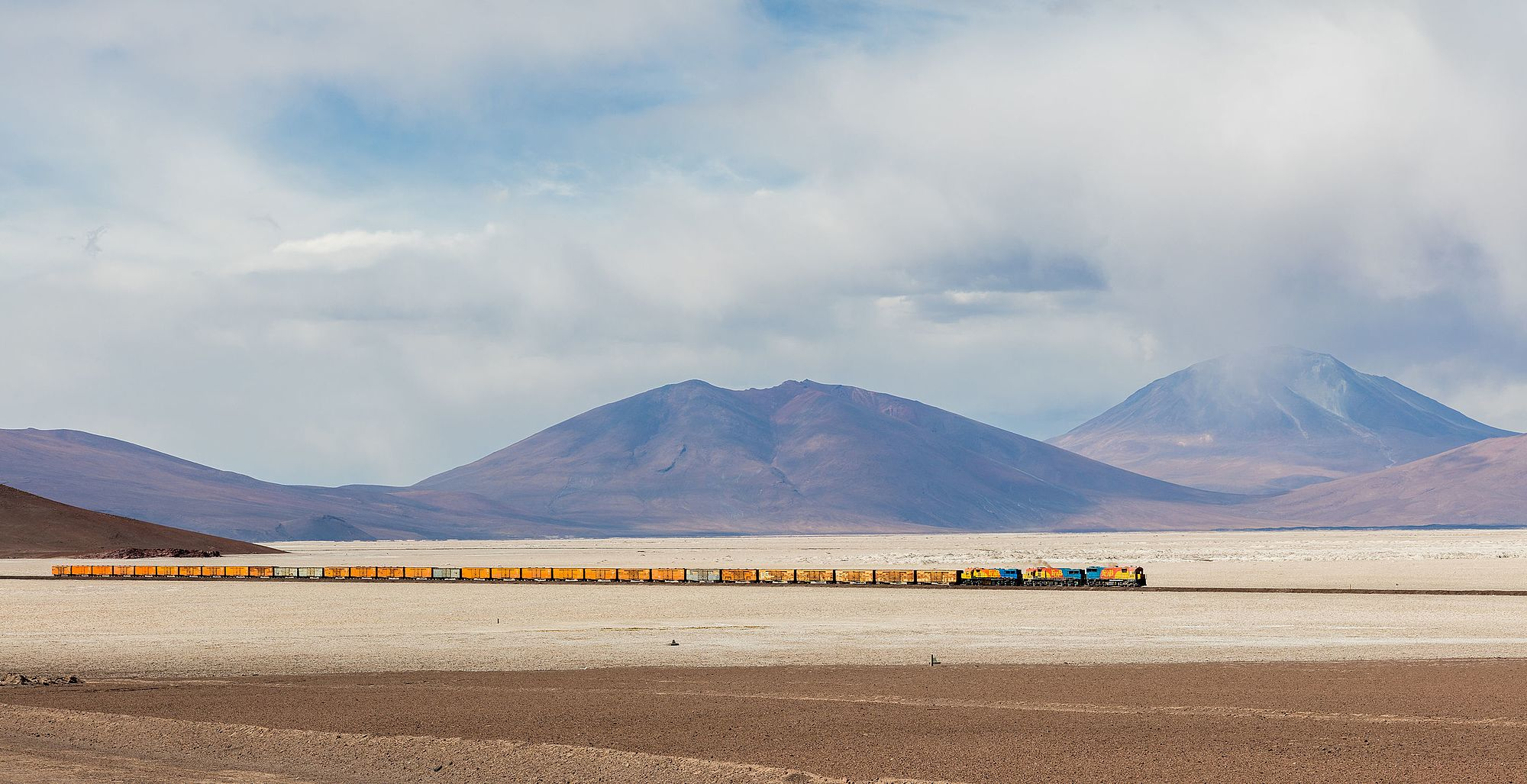 FCAB railway crossing the 35 km (22 mi) long route over the west side of the Ascotán salt flat, southwestern Bolivia.