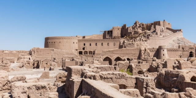 General view of Arg-e Bam, or, Bam Citadel, the largest adobe building in the world and an UNESCO world heritage site, located in Bam, Kerman Province, southeastern Iran.