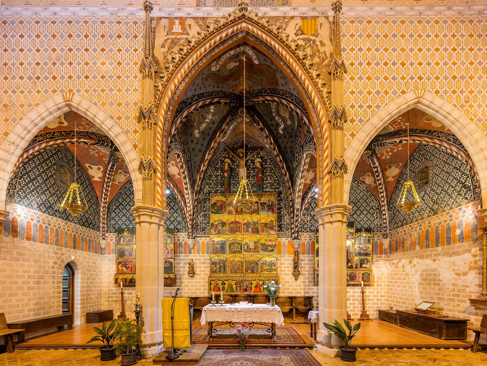 Altar of the church of St Felix, Torralba de Ribota, province of Zaragoza, Spain. The church, of mudéjar and late gothic style was built between 1367 and 1420. The church is a national heritage monument in Spain (known as Bien de Interés Cultural) since 2006.