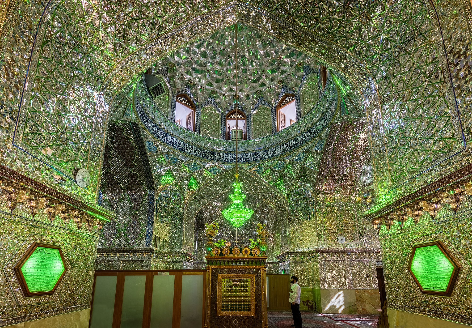 Interior of Mausoleum of Emir Ali, Shiraz, Iran. The current temple was built in the 19th century to replace the former one damaged over the centuries due to earthquakes. In this site rest the remains of Ali Ibn Hamz, nephew of shah of Cheragh.