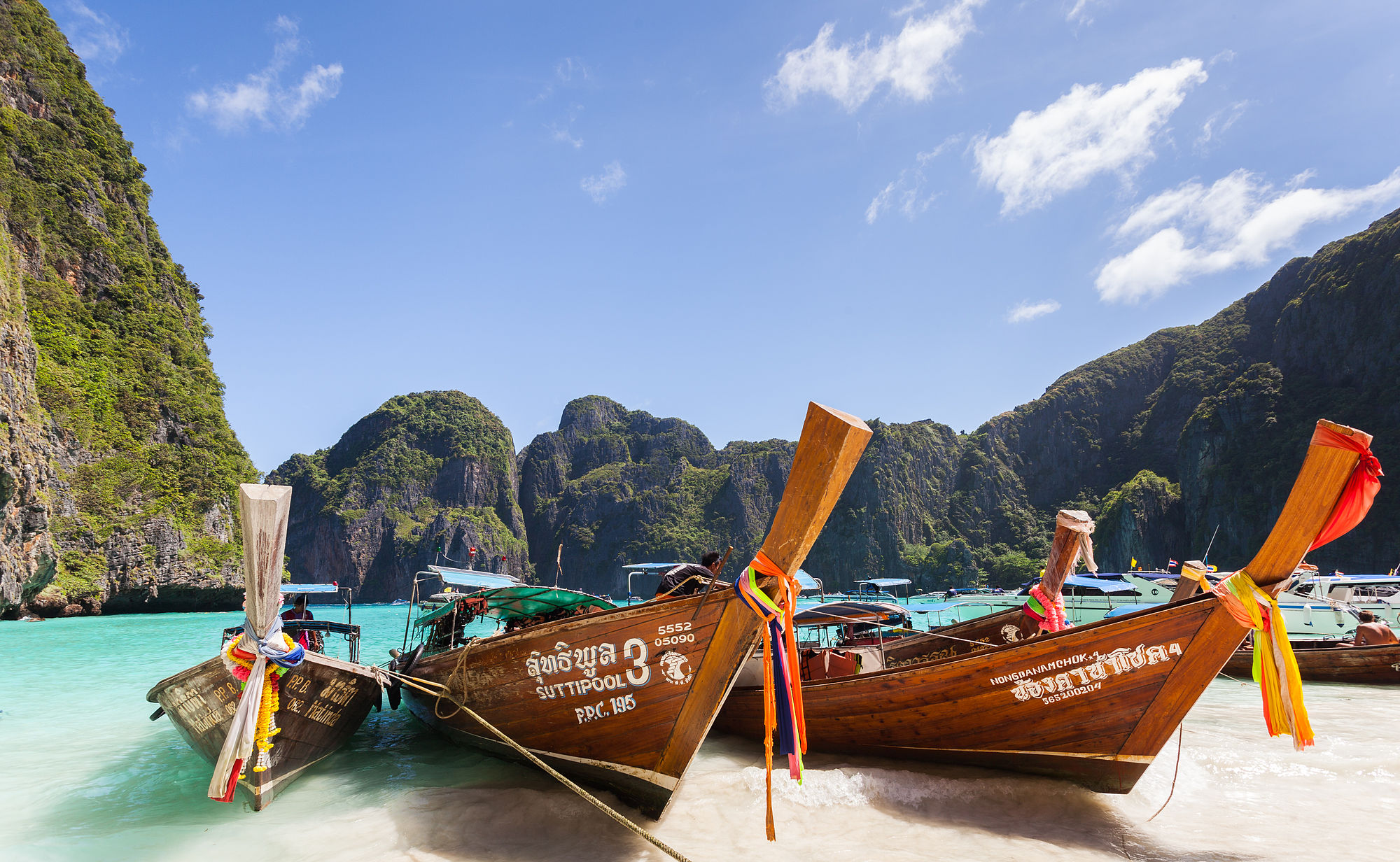 Long-tail boats in Maya Beach, Ko Phi Phi Lee, Thailand.