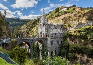 Las Lajas Sanctuary is a basilica church located in Ipiales, Colombia. Diego Delso CC BY-SA.