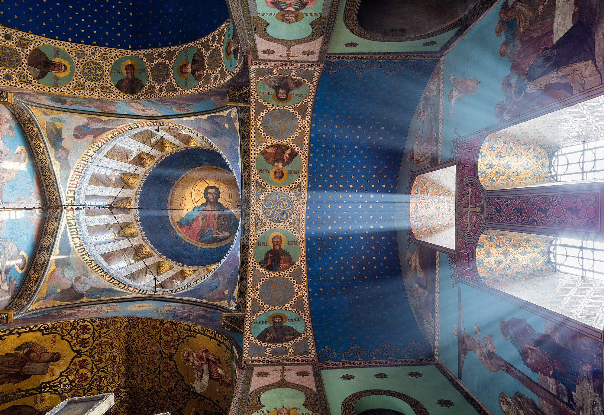 Ceiling of the Sioni Cathedral, a Georgian Orthodox cathedral in Tbilisi, capital of Georgia. The cathedral is situated in historic Sionis Kucha (Sioni Street) in downtown Tbilisi. It was initially built in the 6th and 7th centuries. Since then, it has been destroyed by foreign invaders and reconstructed several times. The current church is based on a 13th-century version with some changes from the 17th to 19th centuries. The Sioni Cathedral was the main Georgian Orthodox Cathedral and the seat of Catholicos-Patriarch of All Georgia until the Holy Trinity Cathedral was consecrated in 2004.