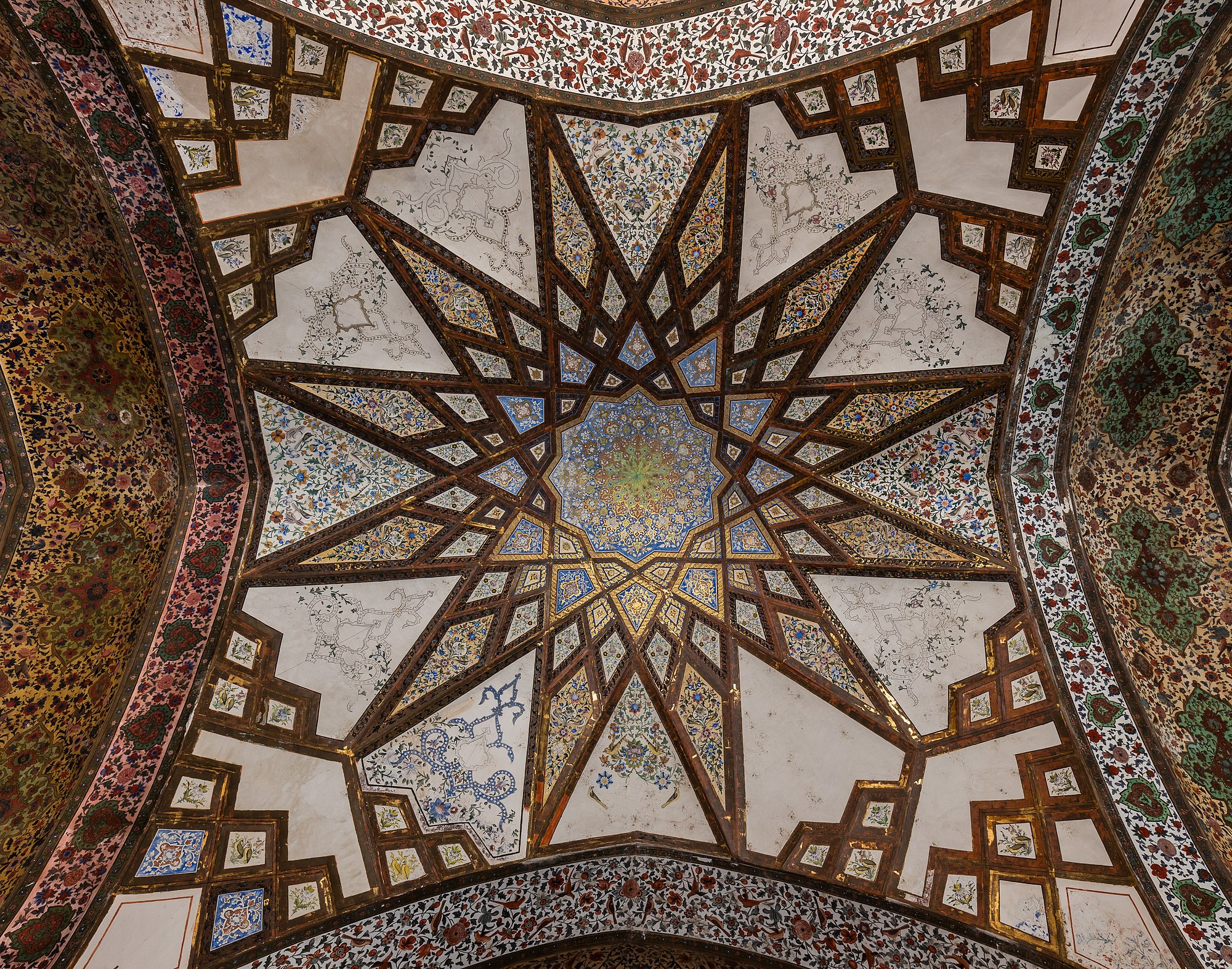 View of one of the domes of the Kushak located in the center of Fin Garden, city of Kashan, Iran.