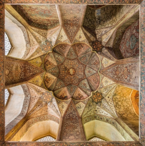 "Ceiling in one of the rooms of Hasht Behesht, Isfahan, Iran. The palace, built in 1669, and which name means ""Eight Heavens"" is the only one left today out of forty mansions that existed during the rule of Safavids."