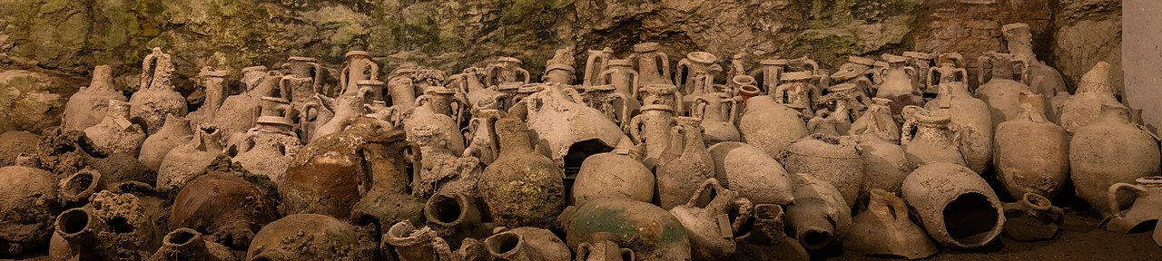 Amphoras of the underground exhibition in the Pula Arena, an amphitheatre located in Pula, Croatia.