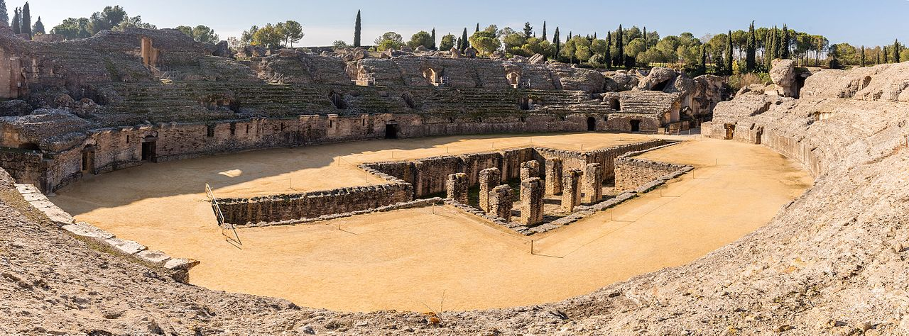 Amphitheater of the ancient roman city of Italica, in modern-day Santiponce, near Seville, Spain.