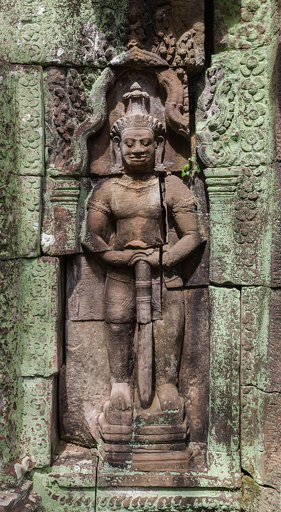 Bas-relief of a Dvarapala at Banteay Kdei in Angkor, Cambodia.
