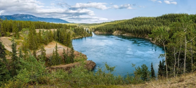 Yukon River at Schwatka Lake and the entry to Miles Canyon, not far from Whitehorse, Yukon, Canada.