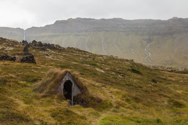 Abandoned Icelandic turf house in the region of Búðahraun, Western Region, Iceland.