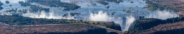 Aerial panoramic view of the Victoria Falls of the Zambezi River, border between Zambia and Zimbabwe.