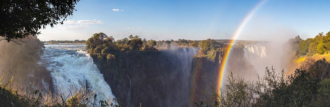 Victoria Falls of the Zambezi River, border between Zambia (left side) and Zimbabwe (right side).