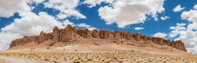 Tara Cathedrals, a rock formation at the Tara salt flat in the Atacama Desert, northern Chile.