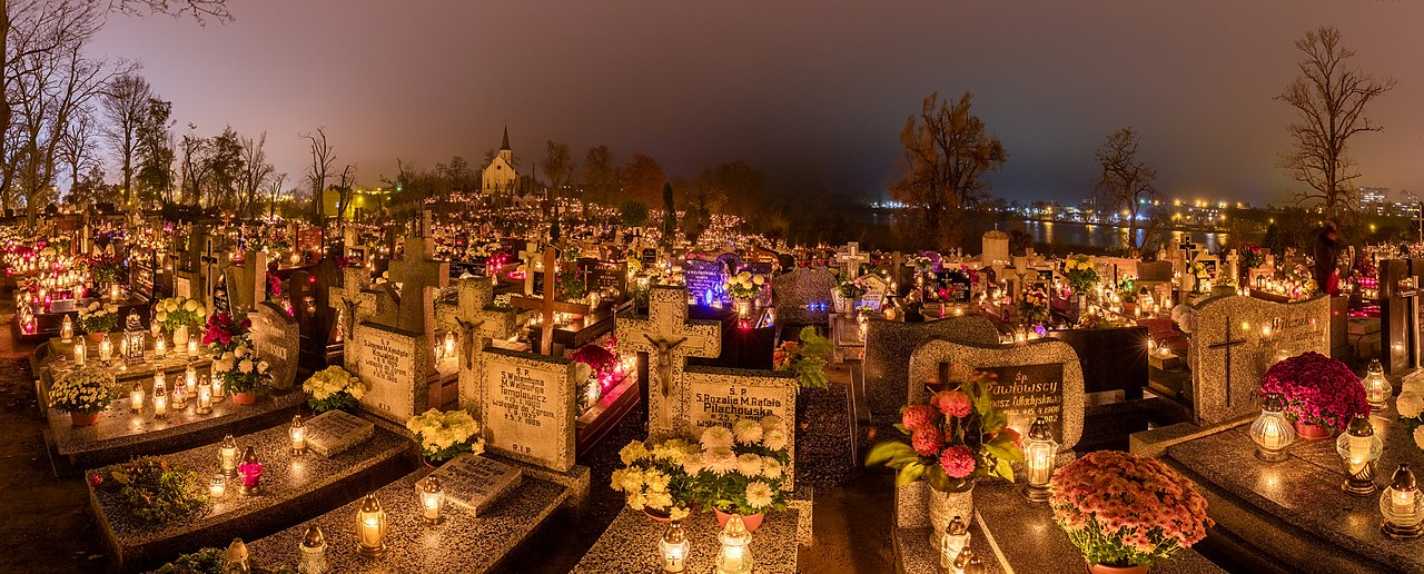Devotion of Polish People in All Saints' Day, Holy Cross Cemetery in Gniezno, Poland.