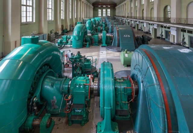 Turbines room of the Walchensee Hydroelectric Power Station, Kochel, Bavaria, Germany.