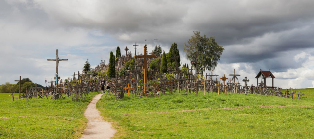 The Hill of Crosses is a site of pilgrimage near Šiauliai, in the north of Lithuania. It is believed that the first crosses were placed after the November Uprising, in the first half of the 19th century. According to an estimation the amount of crosses and crucifixes reached 100,000 back in 2006.