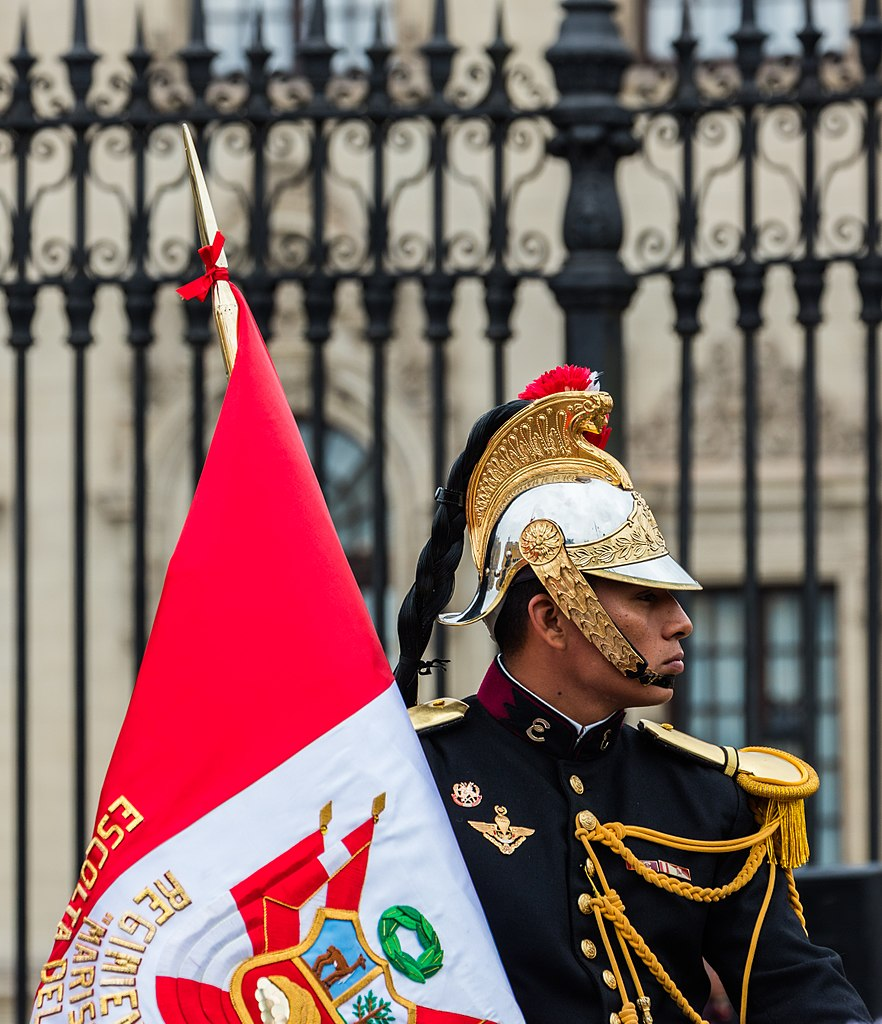 Presidential guard in front of the Government Palace, Plaza de Armas, Lima, Peru.