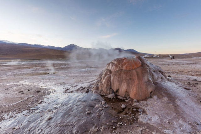 Close-up of a geyser in El Tatio, north of Chile, within the Andes Mountains near the Bolivian border.