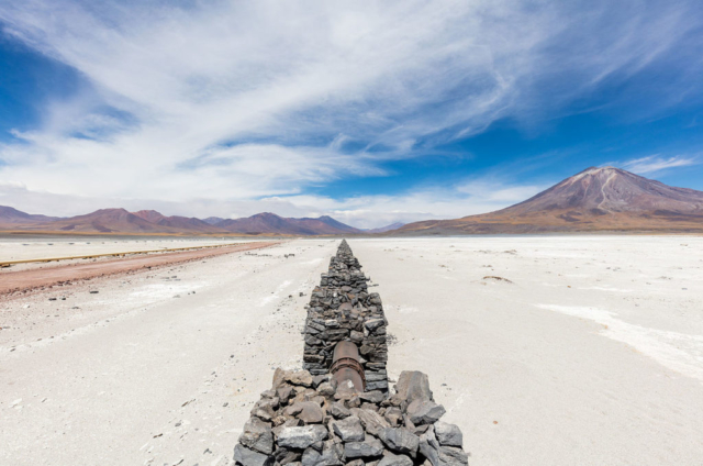 Gas pipeline that vanishes in the infinite next to the road B-145, province of El Loa, northern Chile.