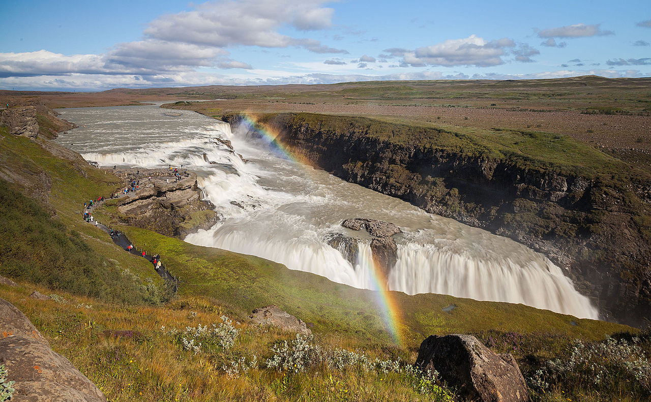 "Rainbow over Gullfoss (""Golden Falls"" in Icelandic), a waterfall located in the canyon of the Hvítá river, Iceland."