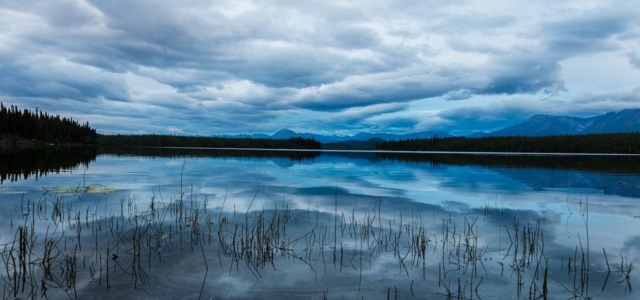 Silver Lake during dusk, Wrangell–St. Elias National Park and Preserve, Alaska, United States.