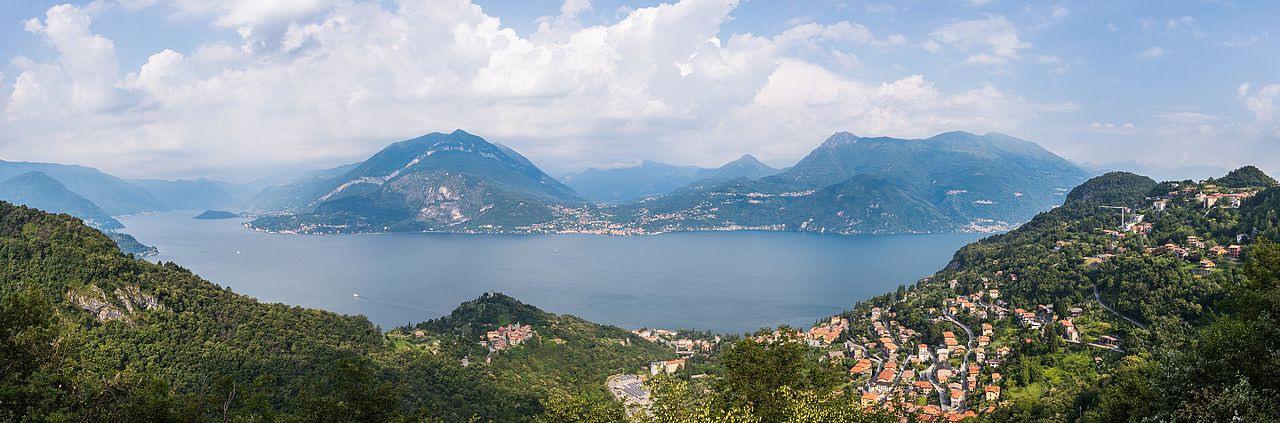 Panoramic view of Lake Como, a lake of glacial origin located in Lombardy, Italy.