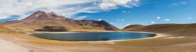 Miñiques, a massive volcanic complex and lake located in the Antofagasta Region, northern Chile.