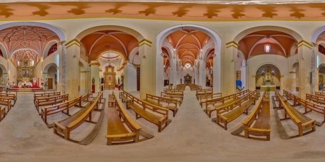 Spherical panorama of San Andrés church, Calatayud, Aragon, Spain.