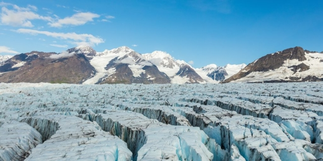 Aerial view of a glacier in Chugach State Park, Alaska, United States.