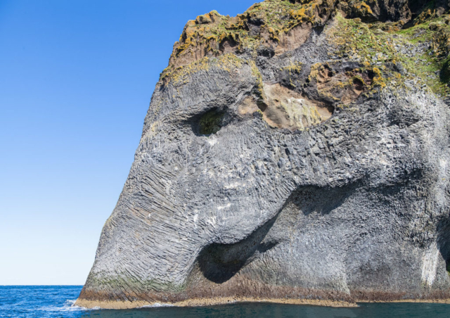 Elephant Rock in the cliffs of the island Heimaey, Westman Islands, Suðurland, Iceland.