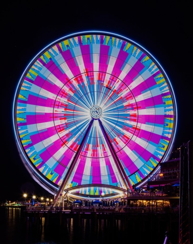 Long exposure of the Seattle Great Wheel, Elliott Bay, Seattle, Washington, USA.