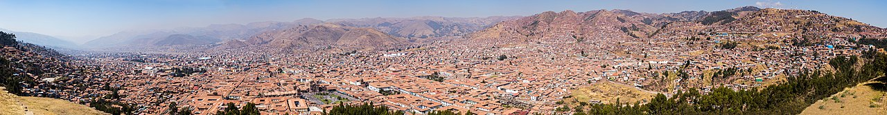 View of the city of Cusco, elevation located 3,400 m/11,200 ft over the sea level, Peru.