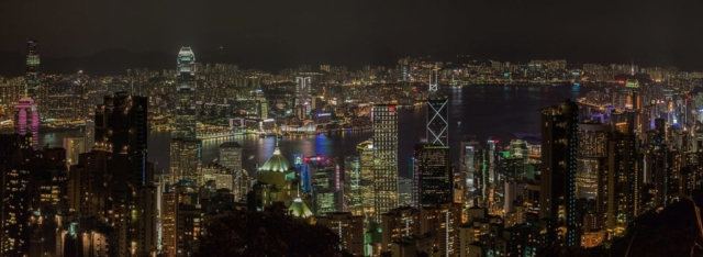 View of Victoria Harbour from Victoria Peak, Hong Kong, China.